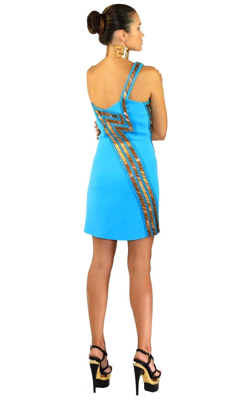 New Versace Blue Silk Embellished one shoulder dress For Sale 1