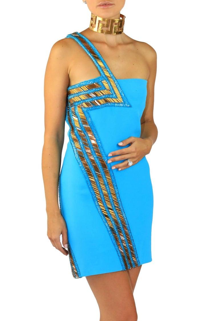 New Versace Blue Silk Embellished one shoulder dress For Sale 2