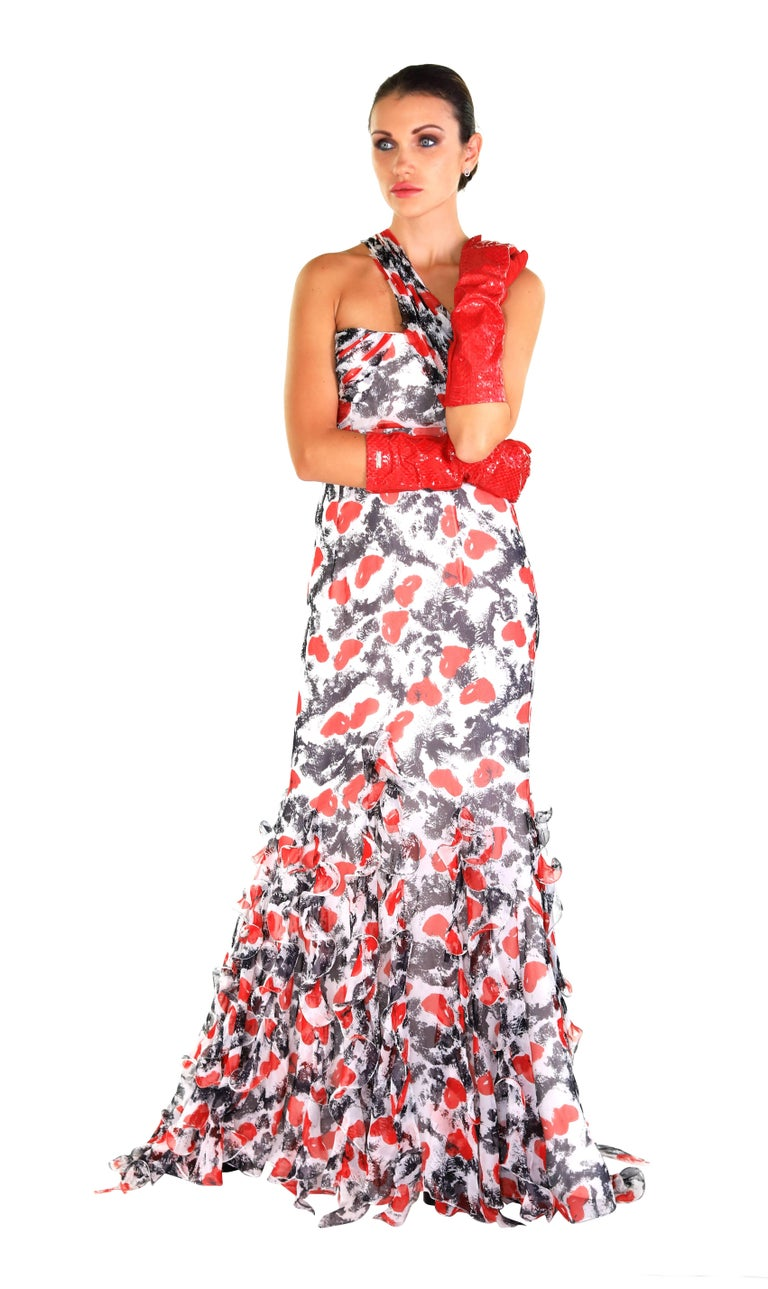 S/S 2011 Look # 50  Red, black and white Oscar de la Renta silk one-shoulder gown with heart print throughout, sweetheart neck, interior boning at bodice, tiered ruffle trim at hem and concealed zip closure at back.  Size 6  Excellent