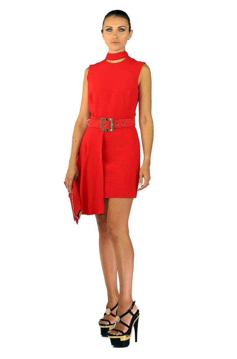 BRAND NEW   VERSACE DRESS  This Cocktail dress features asymmetric hem and cut out neckline detail.   Comes with red suede belt. (size 65) and #Greek handbag.  51% viscose 46% acetate 3% elastane  IT Size 38   Made in Italy  New, with