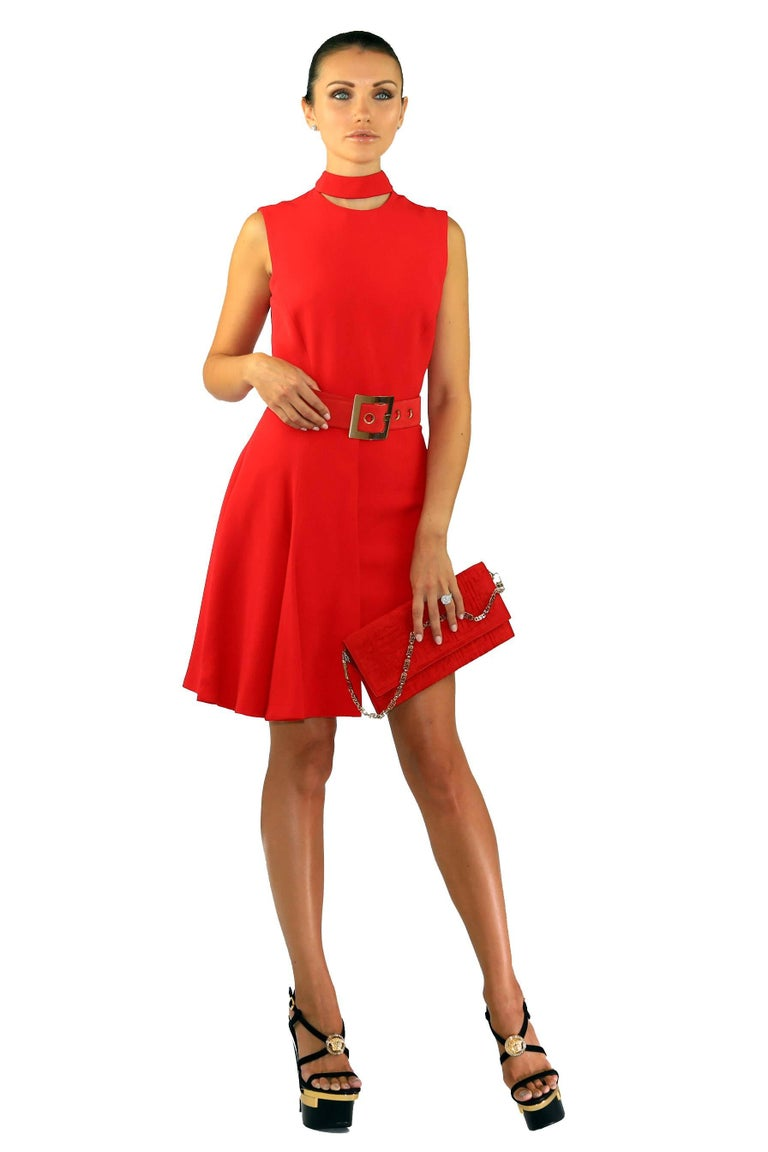 Red New VERSACE RED SILK DRESS with BELT and CLUTCH BAG For Sale