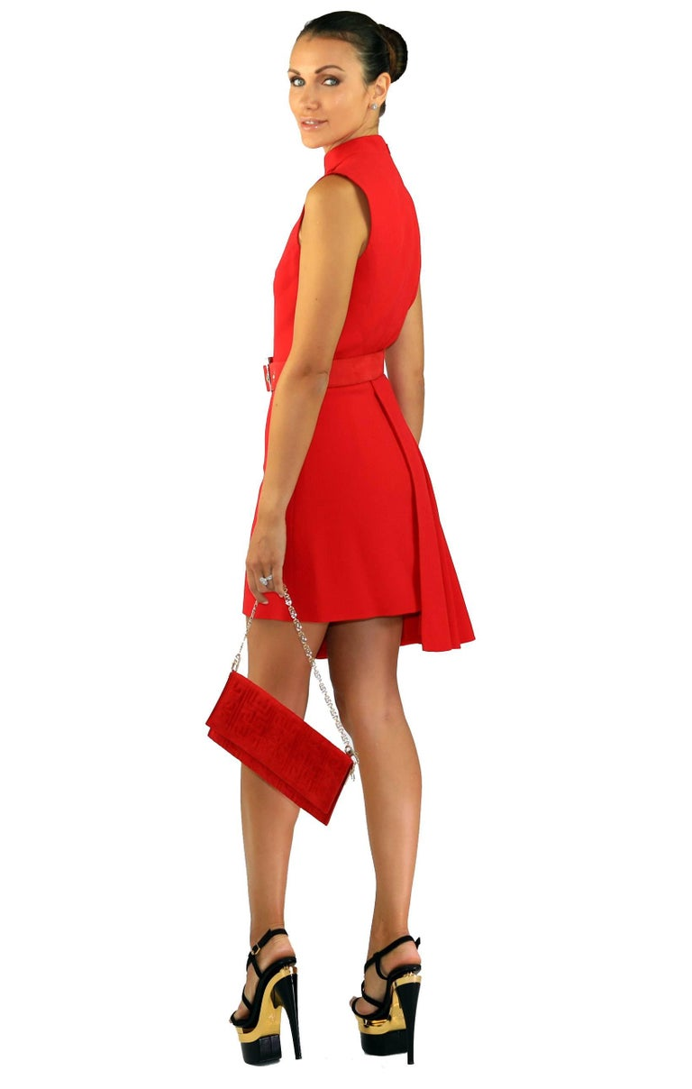 Women's New VERSACE RED SILK DRESS with BELT and CLUTCH BAG For Sale
