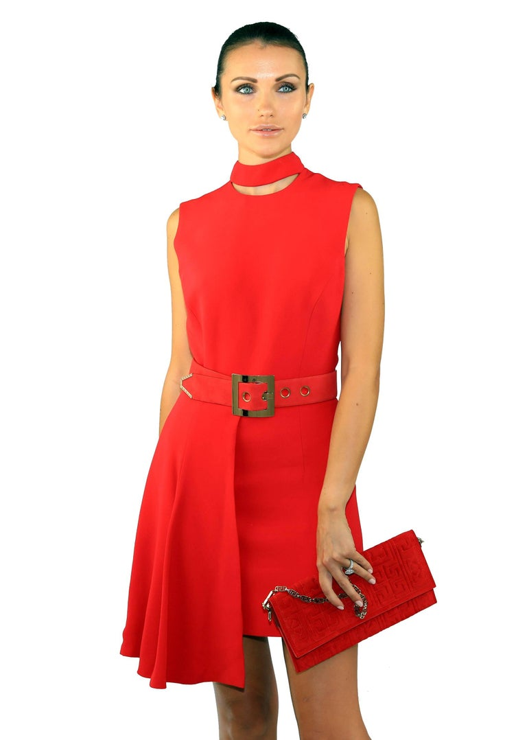 New VERSACE RED SILK DRESS with BELT and CLUTCH BAG For Sale 1