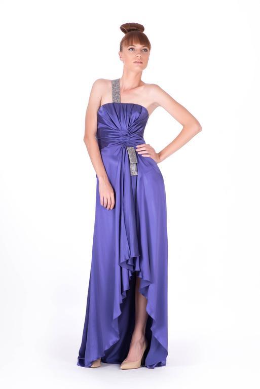 Purple New VERSACE PURPLE CRYSTAL EMBELLISHED LONG DRESS For Sale