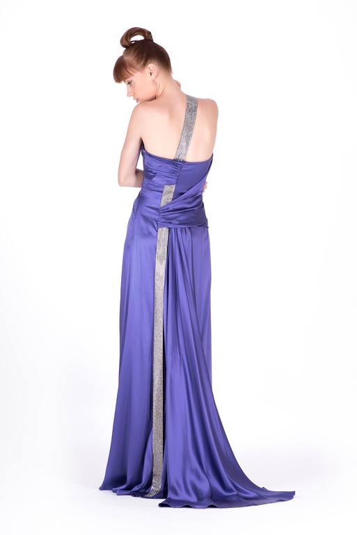 Women's New VERSACE PURPLE CRYSTAL EMBELLISHED LONG DRESS For Sale
