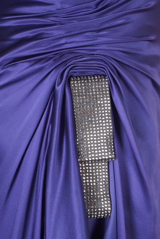 New VERSACE PURPLE CRYSTAL EMBELLISHED LONG DRESS For Sale 2