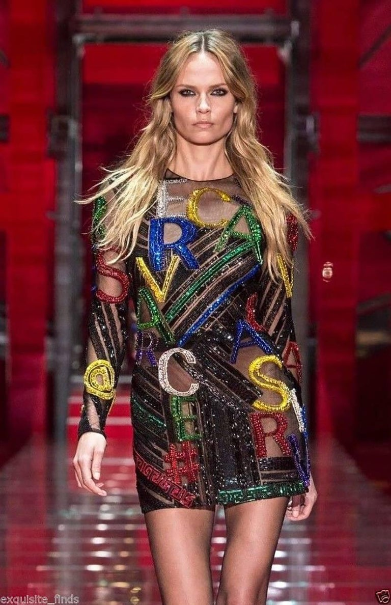 New VERSACE EMBELLISHED TULLE MINI DRESS  For Sale 2