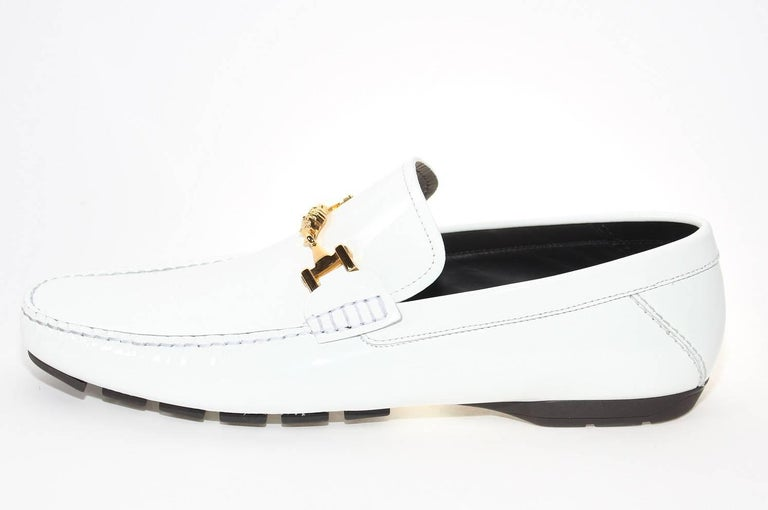 a1ebad57d5 Versace White Patent Leather Loafers Shoes as seen on Bruno In New  Condition For Sale In