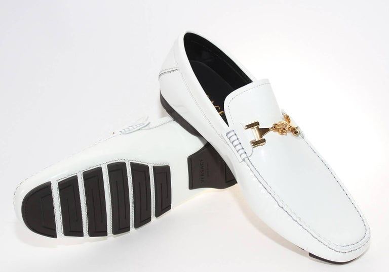 4c8a072215 Men's Versace White Patent Leather Loafers Shoes as seen on Bruno For Sale