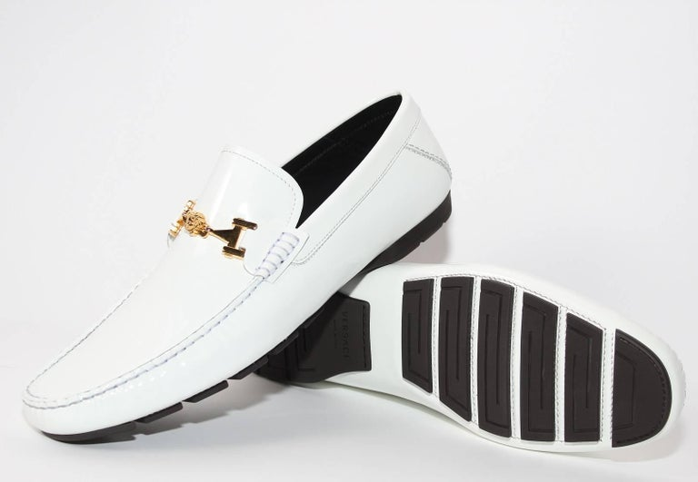 3180b8755e Versace White Patent Leather Loafers Shoes as seen on Bruno For Sale ...