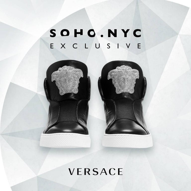 Versace SoHo Exclusive Crystal Embellished Black Leather Sneakers for Men.  Versace's new SoHo Exclusive Sneaker is pretty much the definition of luxury. Not only is the shoe crafted from the finest calf skin and premium Nappa leather, but also