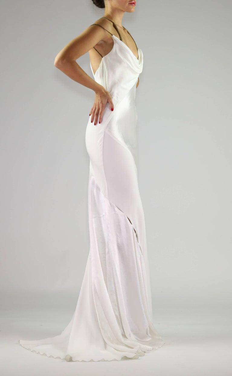 F/W 2014 VERSACE RUNWAY FINALEE WHITE GOWN Size 38 For Sale 2