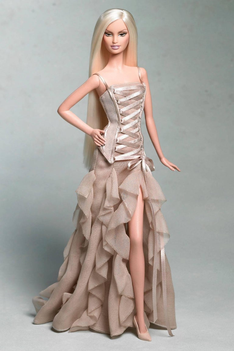 F/W 2003 Vintage VERSACE Nude Silk Corset Gown at 1stdibs