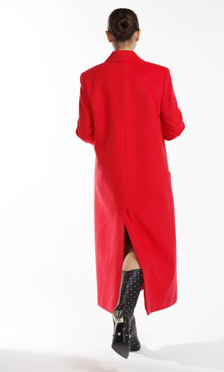 F/W 2013 Look#35 Versace Long Wool Cashmere Coat In Red  For Sale 2