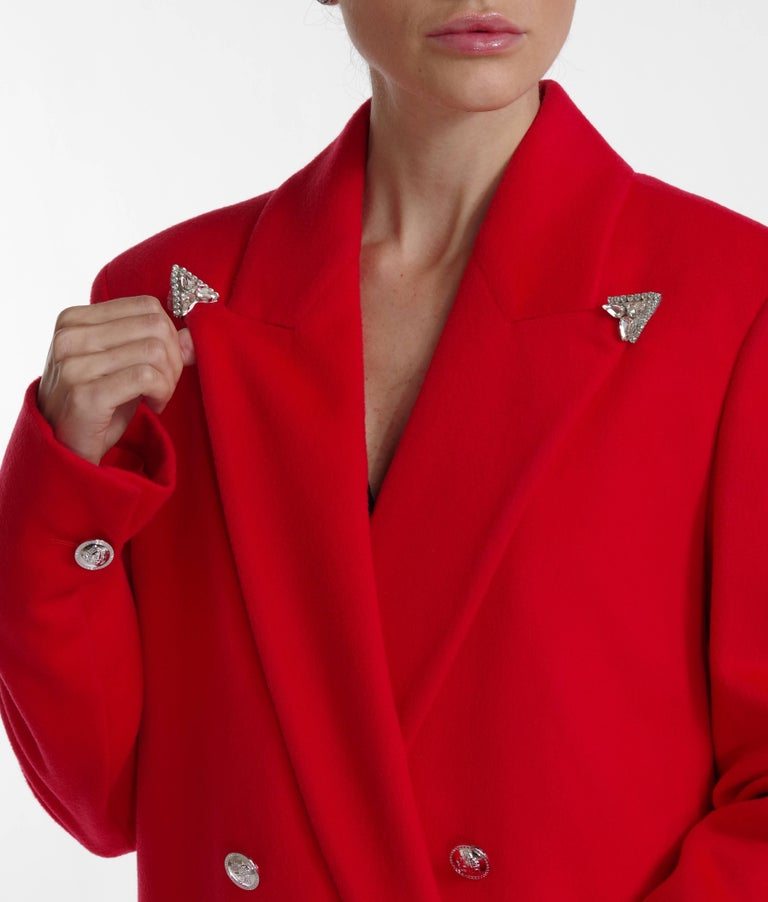 F/W 2013 Look#35 Versace Long Wool Cashmere Coat In Red  For Sale 3