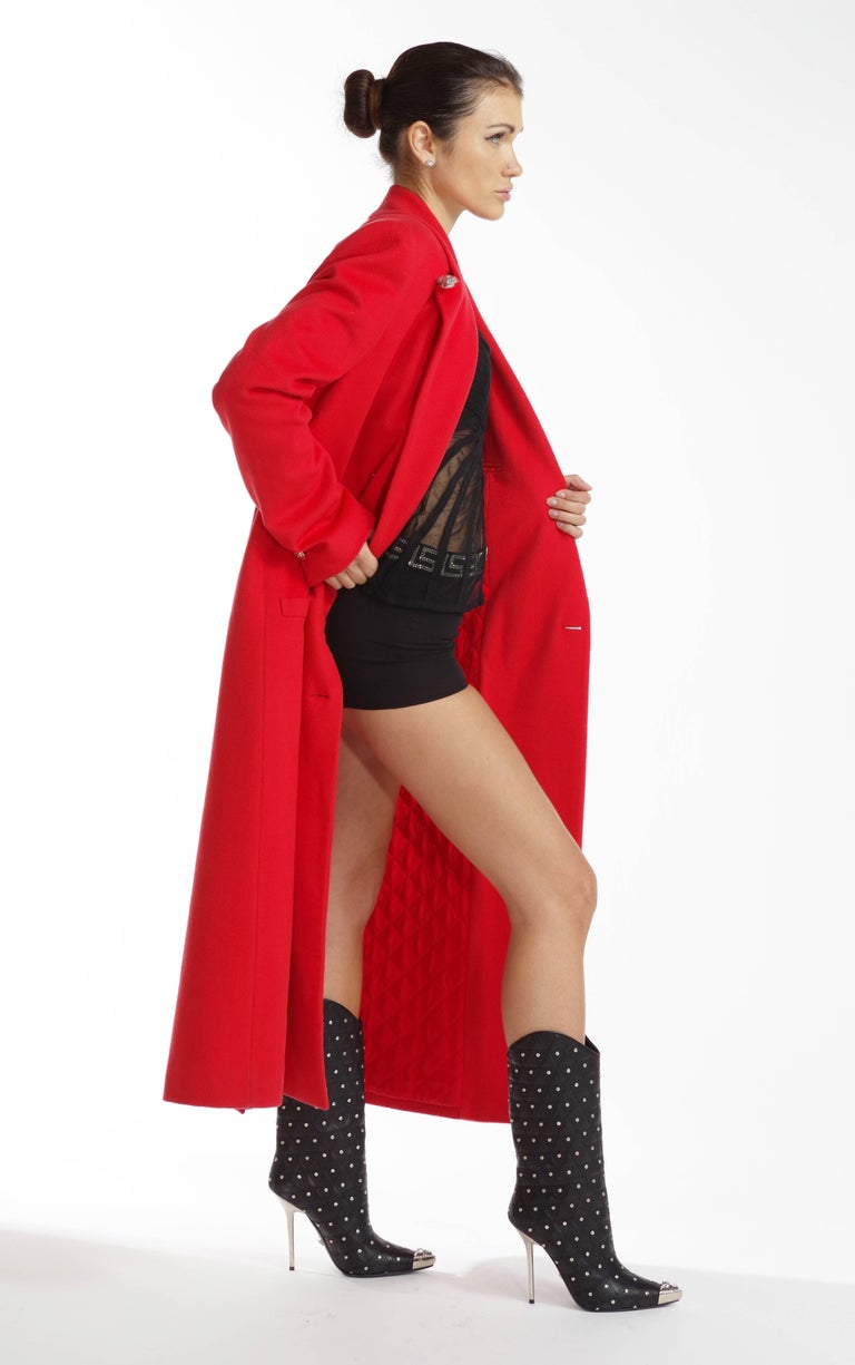 Women's F/W 2013 Look#35 Versace Long Wool Cashmere Coat In Red  For Sale
