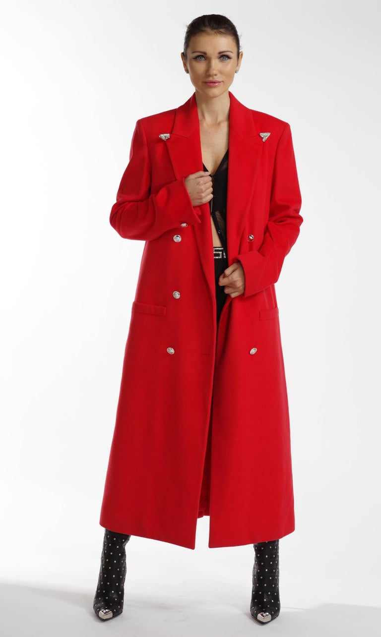 F/W 2013 Look#35 Versace Long Wool Cashmere Coat In Red  For Sale 1