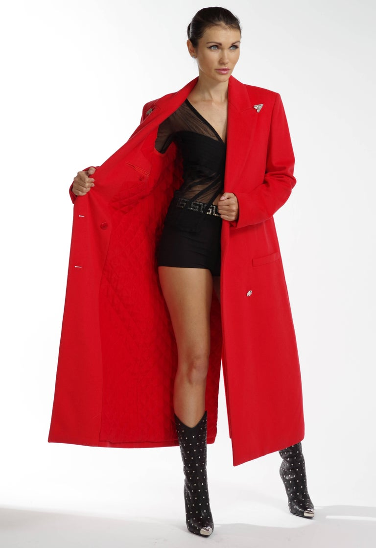 F/W 2013 Look#35 Versace Long Wool Cashmere Coat In Red  In New Condition For Sale In Montgomery, TX