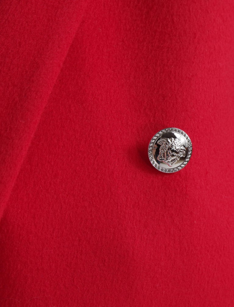 F/W 2013 Look#35 Versace Long Wool Cashmere Coat In Red  For Sale 4