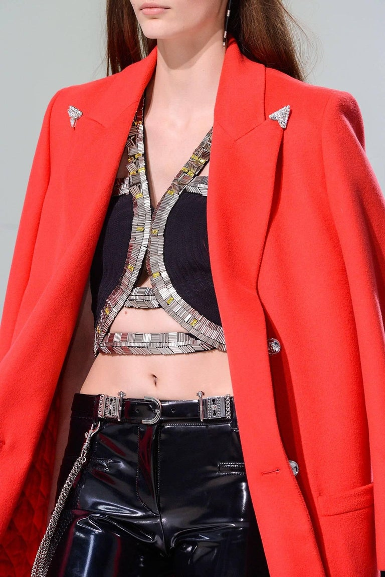 F/W 2013 Look#35 Versace Long Wool Cashmere Coat In Red  For Sale 5