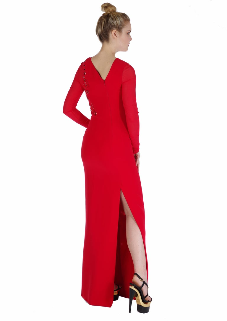 New Versace red silk embellished gown with long sleeves For Sale at ...
