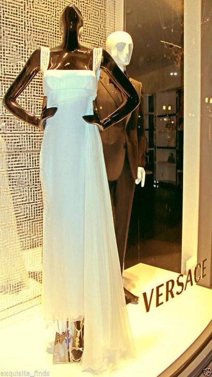 New Versace Crystal Embellished White Silk Gown 2