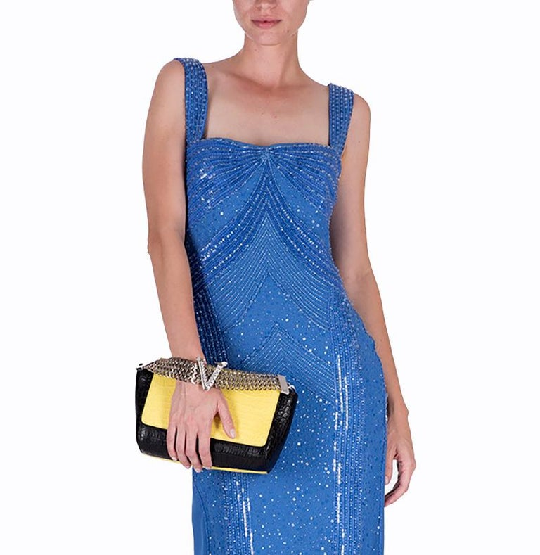 Blue New Versace fully beaded embellished blue gown dress Size 44 - 8 For Sale