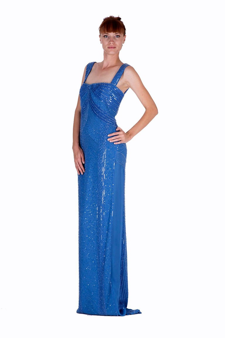 New Versace fully beaded embellished blue gown dress Size 44 - 8 For Sale 1