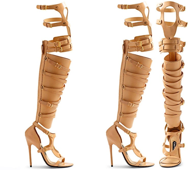 Brown New TOM FORD Nude Leather Gladiator Sandals For Sale