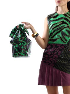 New VERSACE BUTTERFLY HANDLE ANIMALIER PRINT BAG