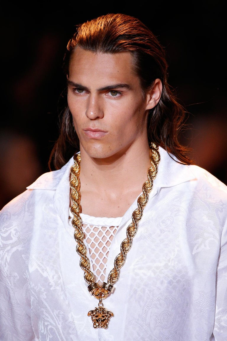 New Versace Runway 24K Gold Plated Medusa Chain Necklace as seen on Bruno Mars For Sale 8