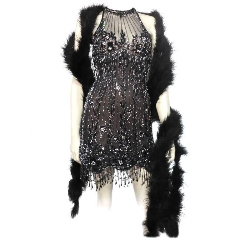 Bob Mackie 20s Inspired Beaded Gatsby Flapper Dress 5