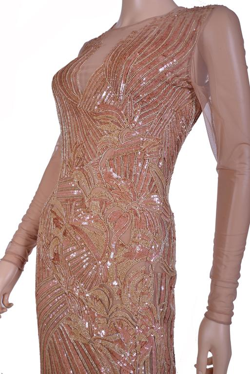 New VERSACE Fully Embroidered Nude Tulle Gown 4