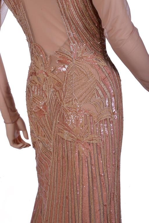New VERSACE Fully Embroidered Nude Tulle Gown 6