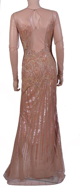 New VERSACE Fully Embroidered Nude Tulle Gown 5