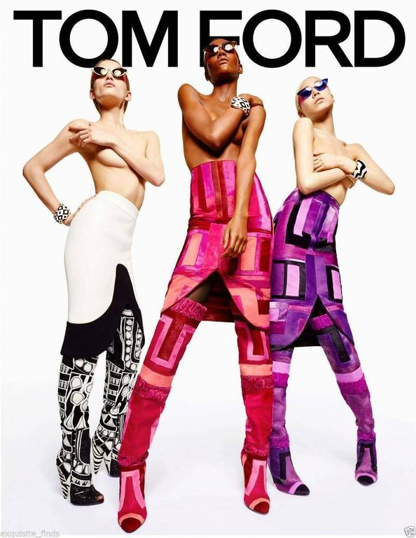 BRAND NEW  Tom Ford   Geometric Patchwork Fur Over-the-Knee Boots Dyed astrakhan (Afghanistan) and dyed calf hair (New Zealand) patchwork upper. Approx. 25 1/2 in. H over-the-knee shaft; pull-on style. 4 in. conical heel. Leather lining and