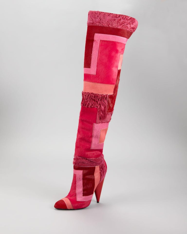 ce9ab5ab7d8 Red New TOM FORD Geometric Patchwork Fur Over-the-Knee Boots For Sale
