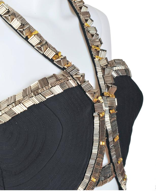 New VERSACE Black Silk Cady Embellished Halter Top 4