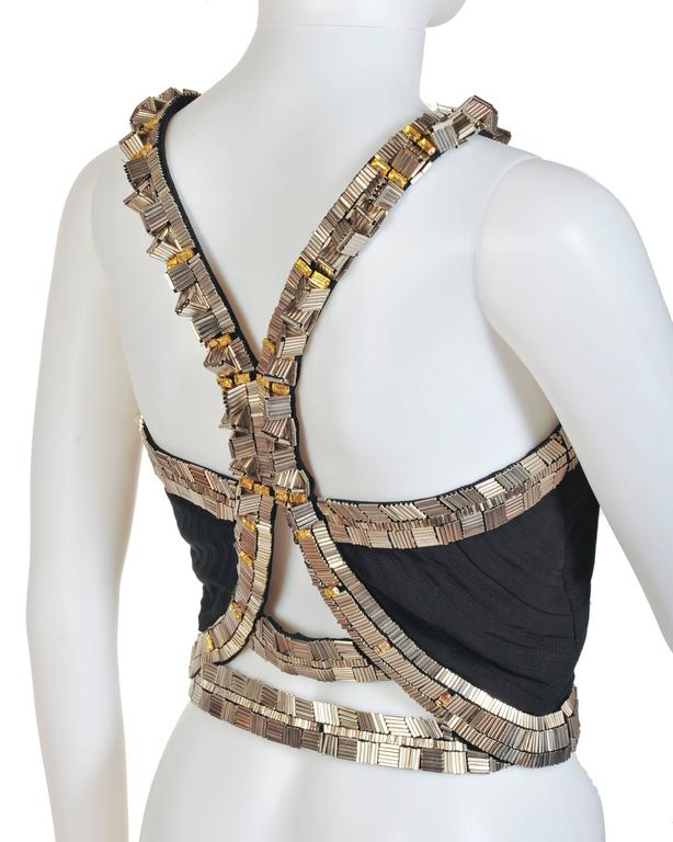 New VERSACE Black Silk Cady Embellished Halter Top 5