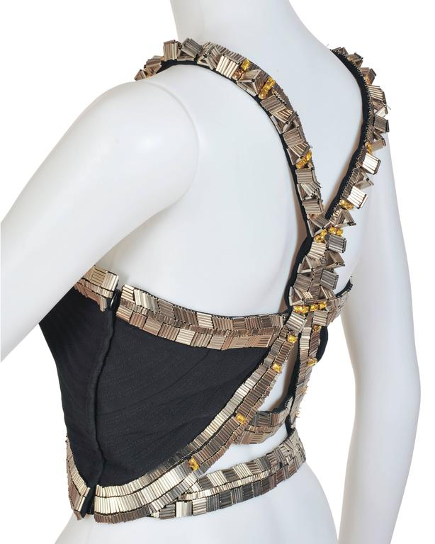 New VERSACE Black Silk Cady Embellished Halter Top 7