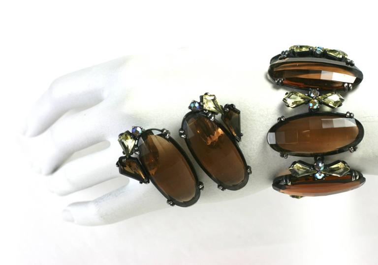 Schiaparelli Oversized Topaz Bracelet and Ear Clips In Excellent Condition For Sale In New York, NY