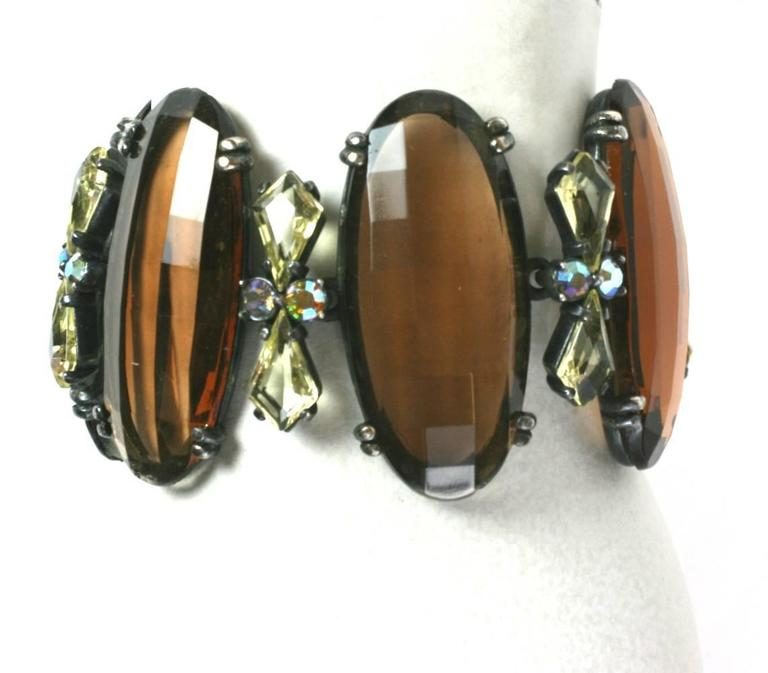 Women's Schiaparelli Oversized Topaz Bracelet and Ear Clips For Sale