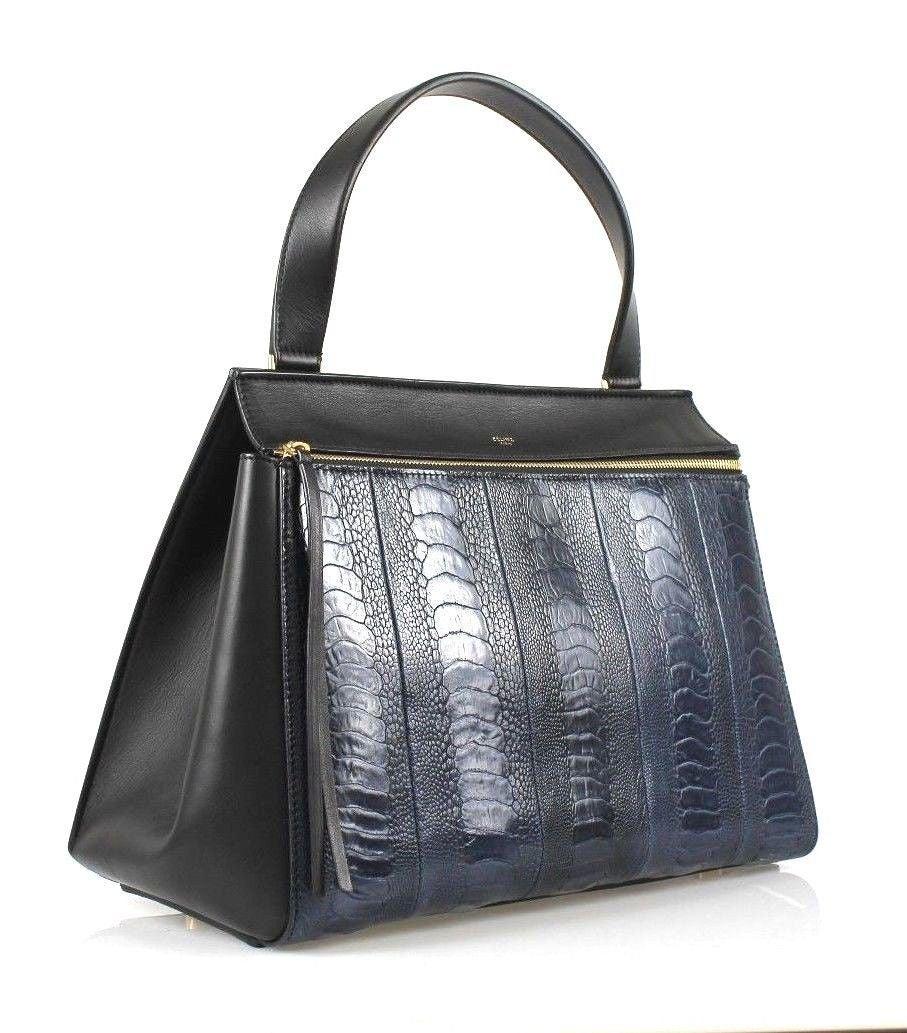 celine python print exotic leathers handbag edge