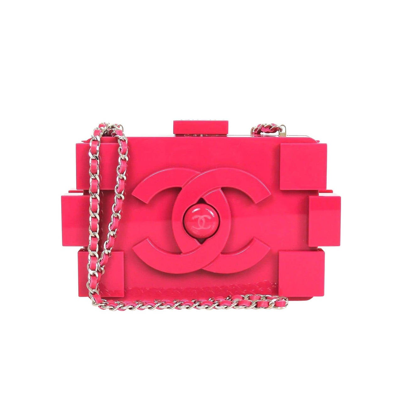 chanel fuschia hot pink plexiglass 2014 lego pink clutch at 1stdibs