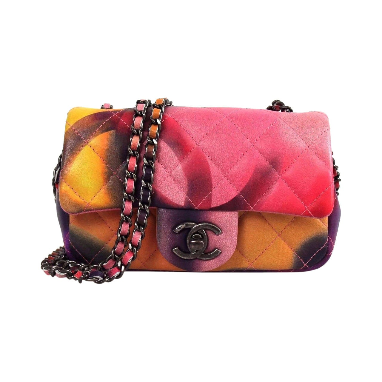 Chanel Multicolor Quilted Leather Mini Flap Flower Power
