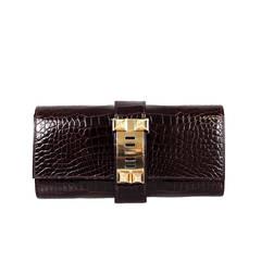 Hermès Shiny Borduex  Porosus Crocodile 2015 Gold HDW 23 Cm Medor Clutch