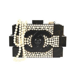 Chanel Black Plexiglass Pearl Embellished 2014 Cc Logo Lego Clutch