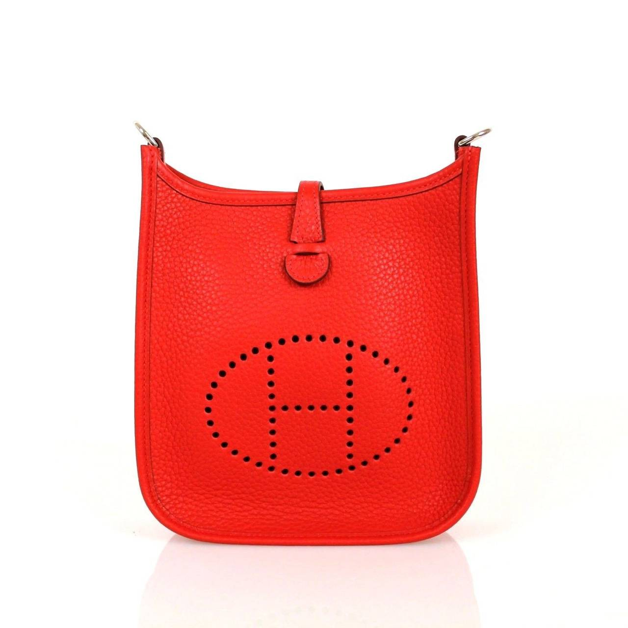 hermes birkin replica reviews - Hermes Red Rougue Casque Clemence Leather 2015 Evelyne III TPM ...