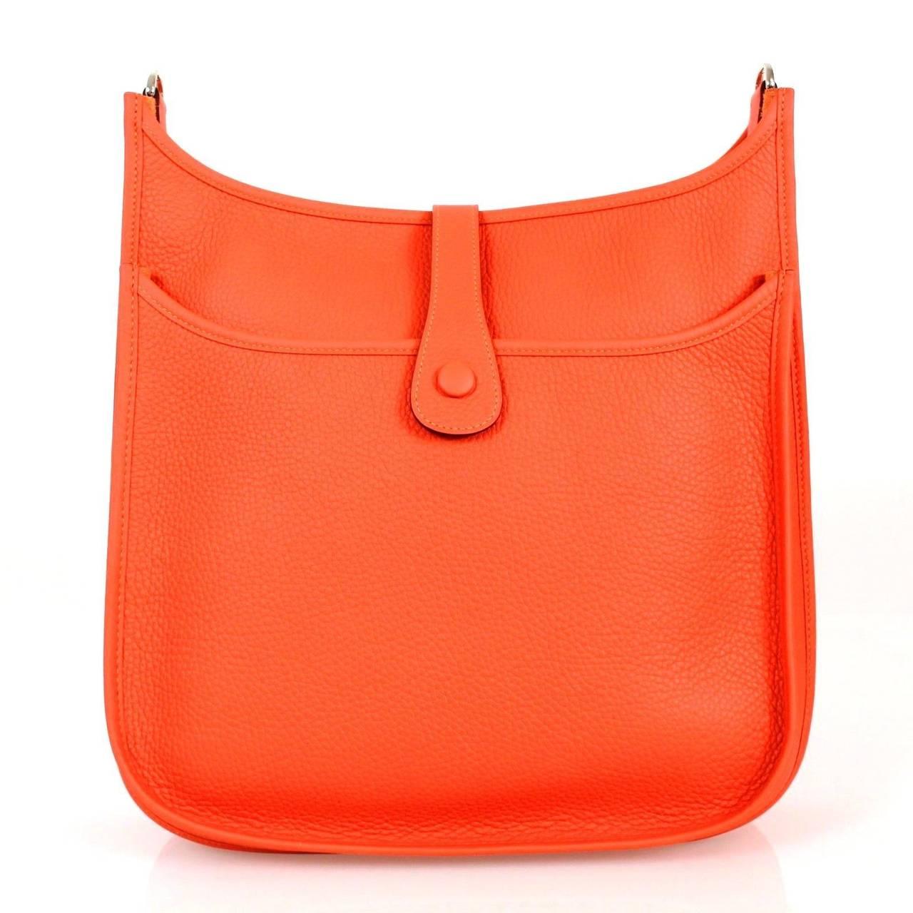 ... Orange Taurillon Clemence Leather 2015 Evelyne Iii Gm Cross Body Bag