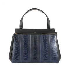 Céline Navy Black Ostrich Leather Edge Blue Tote Bag